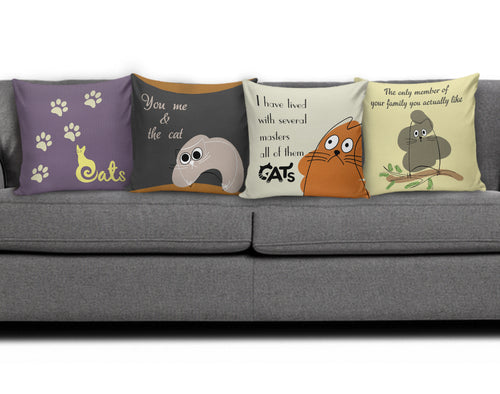 4 pillow covers - Cat Lovers 02