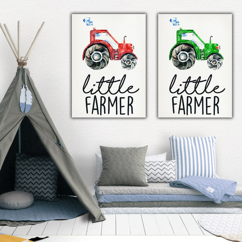 Little Farmer and Tractor Poster for Children's Room