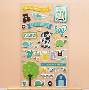 30Pcs/Set Cute Cow&boy Long Stripe Pattern Stickers To Decorate Diary Albums
