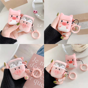 Cartoon Pig Earphone Case For Apple Wireless Airpods