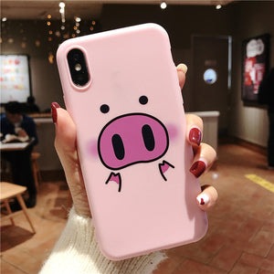 Cute Pig - Phone Case For iPhone XS Max XR 7 8 6 6s Plus - Soft TPU Silicone - ab02