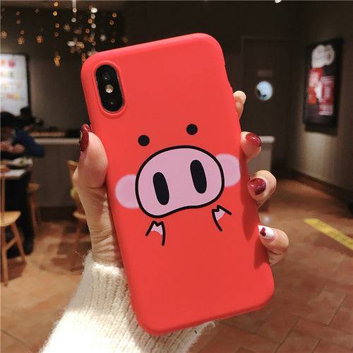 Cute Pig - Phone Case For iPhone XS Max XR 7 8 6 6s Plus - Soft TPU Silicone - ab01