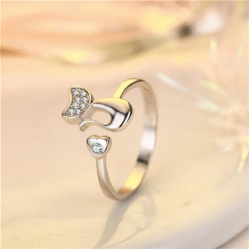 Cute Cat Silver Ring