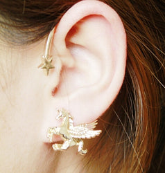 New 1pcs Horse Unicorn Star Lady Stud Earring for left ear