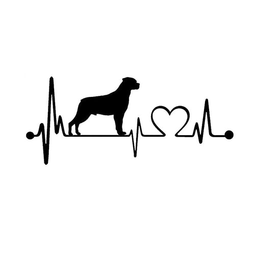 19*8.1CM Rottweiler Heartbeat Dog Car Stickers Decals