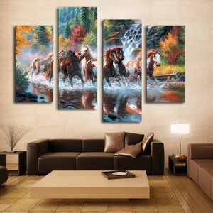Nice living room wall decoration art beautiful horse canvas painting