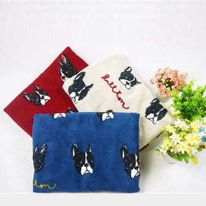 Cartoon flannel Blanket multifunctional necessary French Bulldog