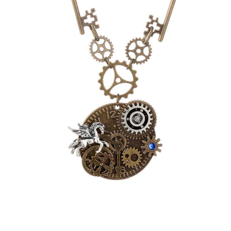 Key And Gears Round Alloy Pendant With Flying Horse Charm