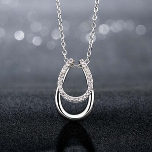 Double Horse Hoof  Pendant Necklace Silver