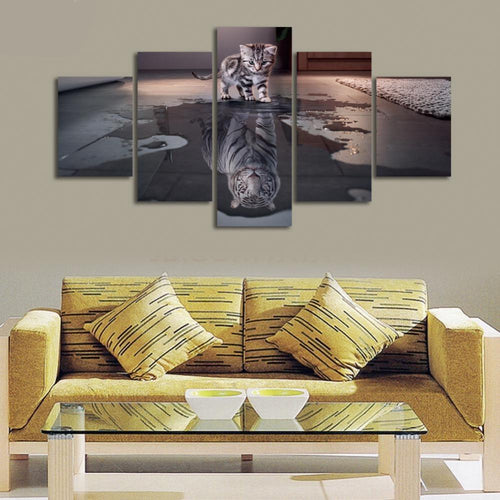 5 Piece Cat and Tiger Canvas Art Wall Pictures HD Printed Canvas Prints Artwork
