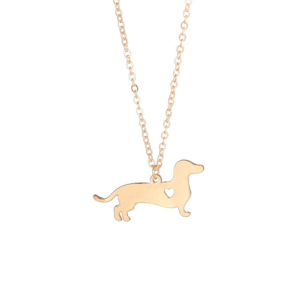 Gold Silver 1pc Dachshund Jewelry Necklace Pendant