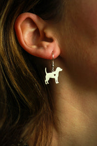 Min 1 Pair Jewelry Beagle Earrings Dog Studs Silver