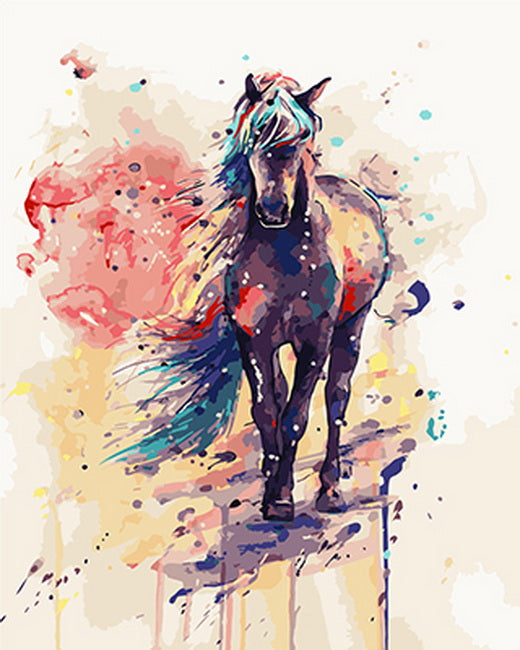 painting by numbers colorful horse