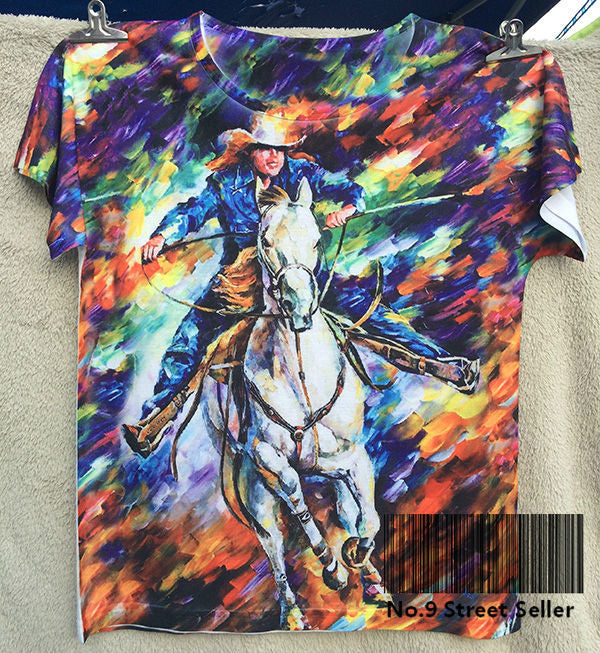 Tee Famous Oil Painting Cowboy