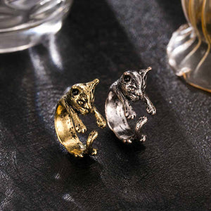 Cute cat ring fashion  gold and silver retro ring