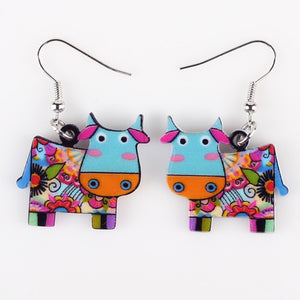 Cow Earrings Acrylic Pattern Long Danlge