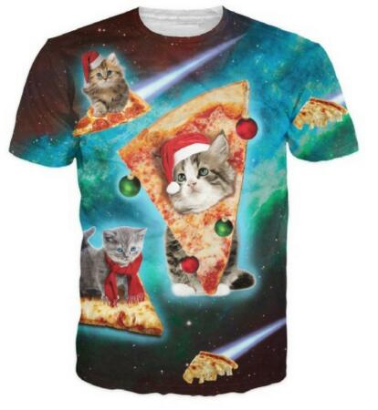 Christmas pizza cats Shirt Women/Men Fashion Clothing