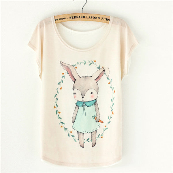 T Shirt Women Tops Tees many cats - one size