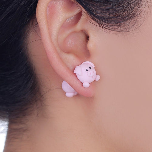 100% Handmade Lovely Pig Stud Earring Fashion Jewelry Polymer Clay