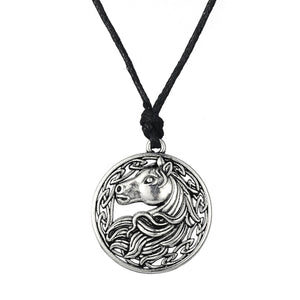Jewelry round pendant rope horse necklace vintage accessories