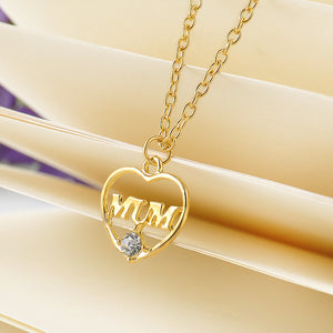"Gold Color Love ""Mum"" Crystal Heart Pendant Necklace Mother's Day Gifts"