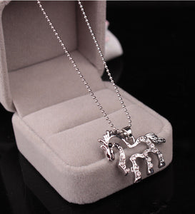 Horse Plated Titanium Steel Clavicle Chain Pendant Necklace