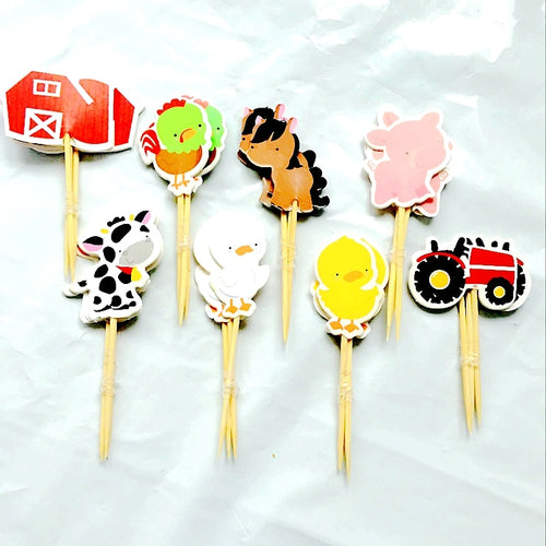 48pcs Farm Cake toppers Animal Party Cupcake cases petting kids birthday party