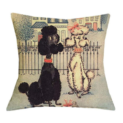 Poodle Printed Cute Dogs 45X45cm Pillow Cases
