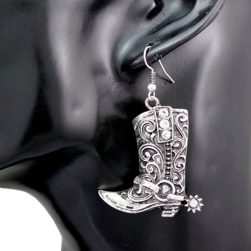 Wild West Silver Cowgirl Boots  Earrings