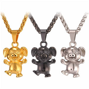 Cute Pet Pig Necklace Pendant Stainless Steel / Yellow Gold Color Men/Women