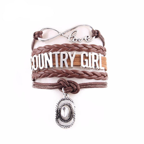 love country girl bracelet cowboy hat charm