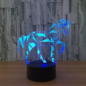 3D Lamp Horse 7 Color Change Remote Touch Switch