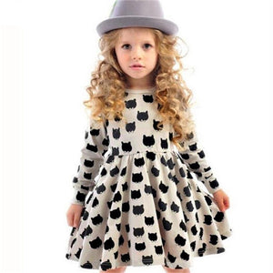 Girl dress cotton long sleeve black cat pattern