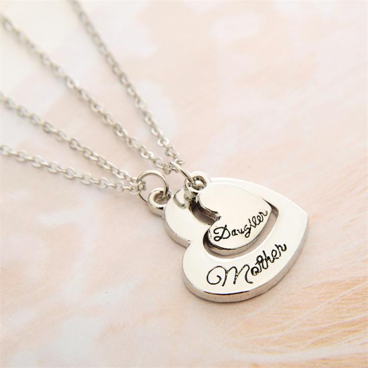2pcs vintage heart mother daughter pendant necklace mothers day 2pcs vintage heart mother daughter pendant necklace mothers day aloadofball Images
