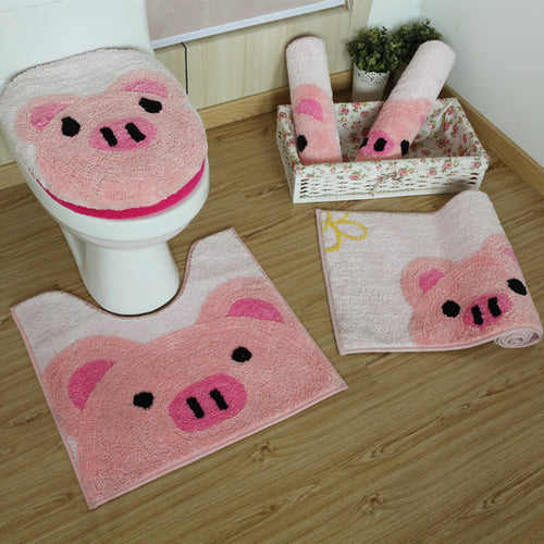 Pink Pig Soft Shaggy Rugs & Toilet Seat Cover Carpets Absorbent