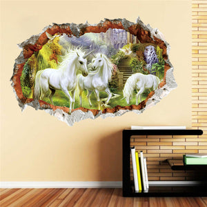 3d effect White Horse Wall Sticker Bedroom Living Room