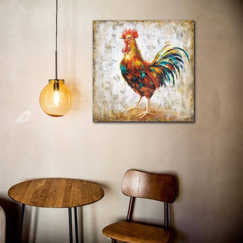 Chicken Wall Art Handmade Oil Painting Canvas