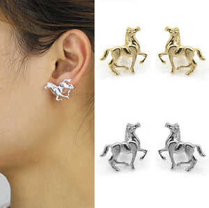 Cool Gold/Silver Tone Horse Stud Earrings Cute