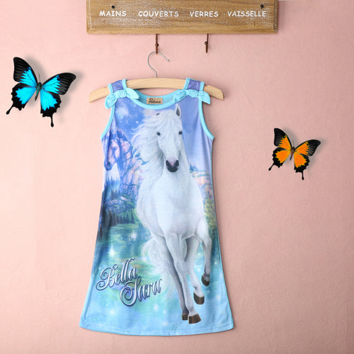 Baby Girls Dress Summer Sleeveless Horse Print Kids Dress Casual Dress
