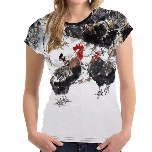 Chicken Prints T Shirt Woman - all over print