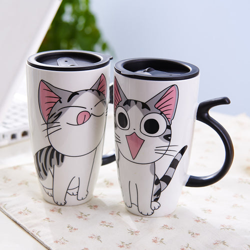 Cute Cat Ceramics Mug With Lid Large Capacity 600ml