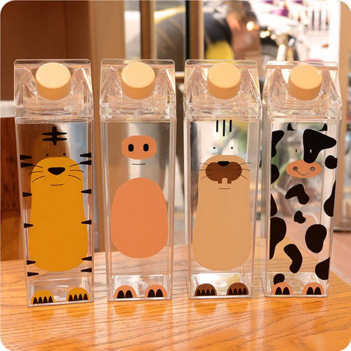 500ml Plastic Sport outdoor Bottles Cute Cow Cat Pig