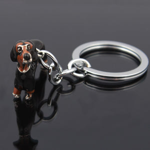 3D Keychain Car Black Enamel Alloy Animal Dachshund