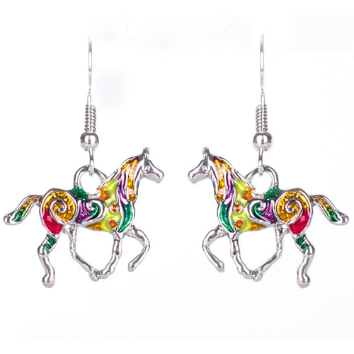 Colorful Horse Earrings Vintage Ethnic