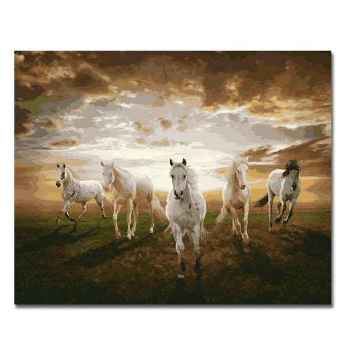 Horses Oil Painting Coloring By Number Home Decor DIY Hand Painted Wall Pictures