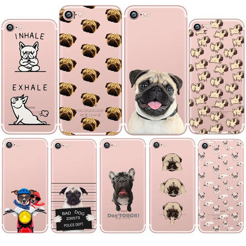 Cute Funny Pug Dog French Bulldog Puppy Silicon Transparent phone case