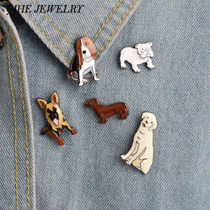 Bulldog Golden Retriever Dachshund Dog Jewelry Pin Brooch Enamel Lapel Pin