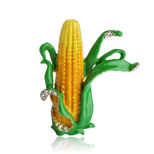 Yellow Corn Maize Brooches Green Enamel Leaves Farmer Plant Brooch Scarf Collar Suit Clips Gold-color Pins Jewelry