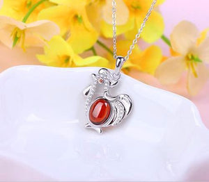 Silver Chicken Pendant Necklaces With Red Stone