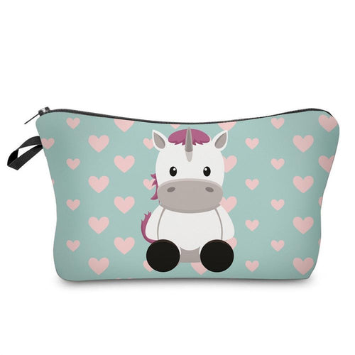 Printing Cosmetic Bags Cute Cow Horse Women Makeup Necessities for Travel